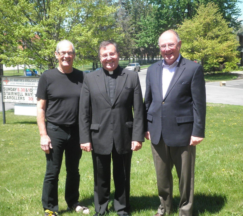 former Rector now retired, Richard Vroom with incoming Rector John Organ and David Dawson St Martin's esteemed organist and Choir Director
